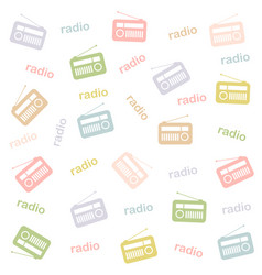 Background with colorful vintage radios vector