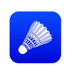 badminton icon blue vector image