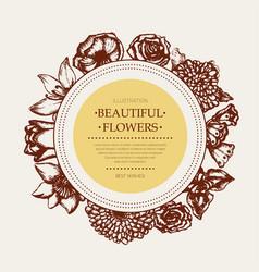 beautiful flowers - monochromatic hand drawn round vector image