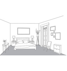 Bedroom furniture interior outline sketch vintage vector
