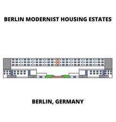 Berlin modern houses line icon concept berli vector