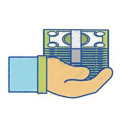 Bill cash money in the hand vector