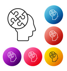 Black line human head puzzles strategy icon vector
