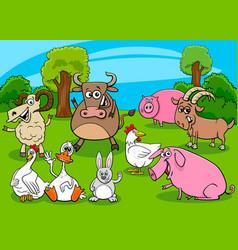 cartoon farm animals comic characters group vector image
