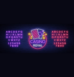 casino royal neon sign neon logo emblem gambling vector image
