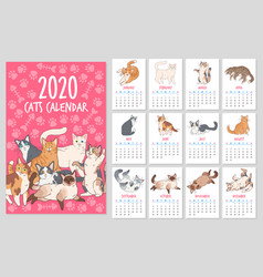 Cat calendar 2020 year planner with cute cats vector