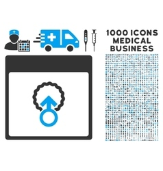 Cell Penetration Calendar Page Icon With 1000 vector
