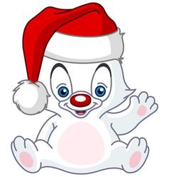 christmas waving baby polar bear vector image