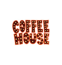 Coffee house intage cafe sign cartoon vector
