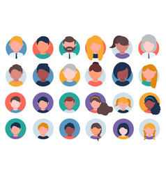 collection multi ethnic people avatars vector image