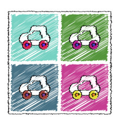 Collection of flat shading style icons toy car vector