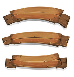 comic wood banners and ribbons vector image