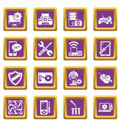 computer repair service icons set purple square vector image