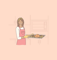 cooking food hobby housework concept vector image