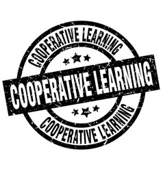 cooperative learning round grunge black stamp vector image