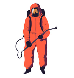 costume with mask and sprayer tube disinfection vector image
