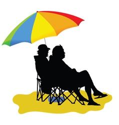 couple sitting under umbrella vector image