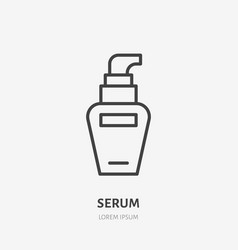 Cream serum flat line icon makeup beauty care vector