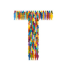 Crowd of people in form of capital letter t flat vector