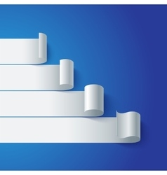 Curled blank paper stripe banners chart on blue vector image