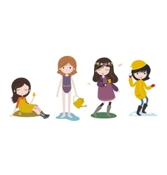 Cute cartoon girls and the four seasons vector image
