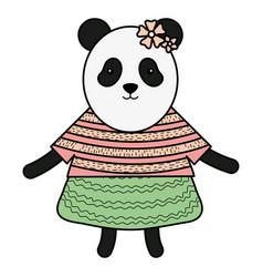 Cute female bear panda childish character vector