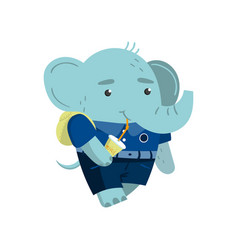 cute funny little elephant student drinking soda vector image