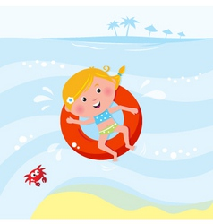 Cute girl swimming in sea vector