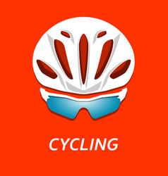 Cyclist helmet with glasses vector