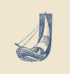 Decorative capital letter j marine ancient style vector