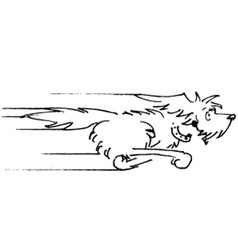 Dog running sketch vector