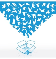 Doodle box Sketch Flying dove for peace concept vector image