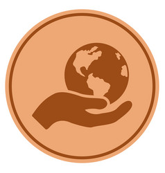 earth care bronze coin vector image