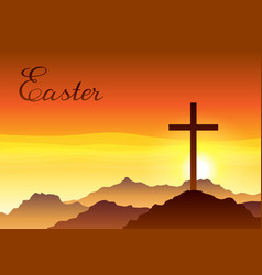 Easter greeting card with cross and vector