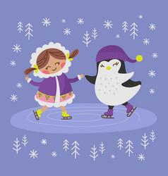 Eskimo girl and penguin flat design vector
