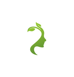 face woman ecology green leaf logo vector image