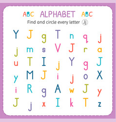 Find and circle every letter j worksheet vector