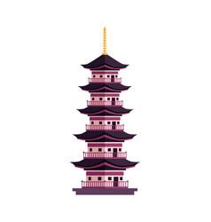 Flat cartoon japan pagoda icon vector
