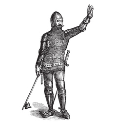 French soldier in armor in 1370 old engraving vector image