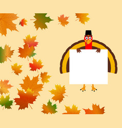 funny turkey with a blank white banner vector image
