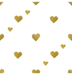 Gold hearts on white background Seamless pattern vector image