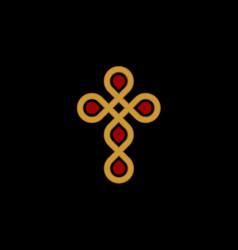 golden abstract cross golden luxury and elegant vector image