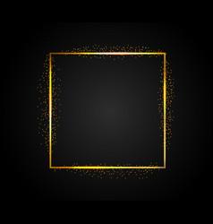 golden rectangular frame with falling shiny dust vector image