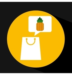 Grocery shopping bag pineapple fruit design vector
