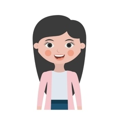 half body woman smiling with jacket vector image