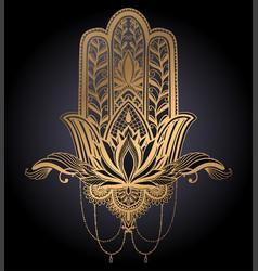 Hamsa talisman religion asian and lotus flower vector
