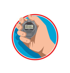 hand holding digital stopwatch retro style vector image