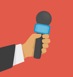 hand holding microphone vector image