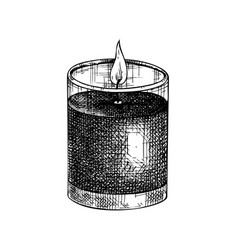 Hand-sketched aromatic candle sketch bu vector