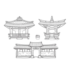 Hanok Korean traditional architecture vector image